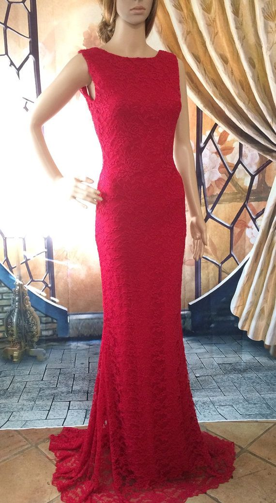 Formal Long, Red Lace Mermaid Dress. This dress is extremely comfortable, elegant and form fitting. Wear it to any occasion feeling sexy and classy,