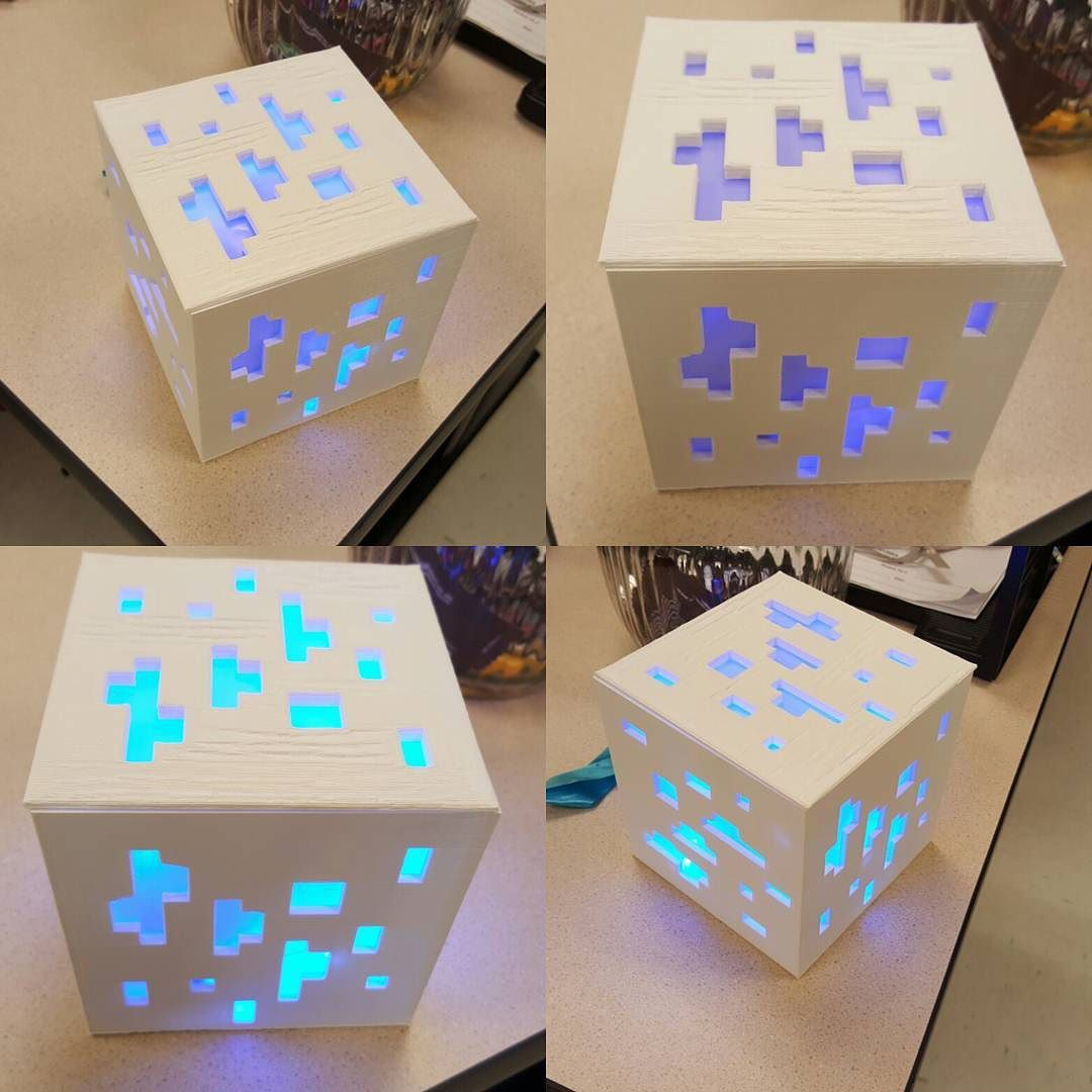 Minecraft diamond ore lamp with blue LED. #3Dprinting #MakerBot #minecraft #additivemanufacturing by claude9777