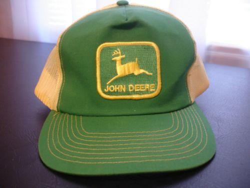 2e00a0a3ba7 Vintage John Deere Trucker Hat Tractor JOHN DEERE Cap 80 s Green  amp   Yellow Patch Mesh