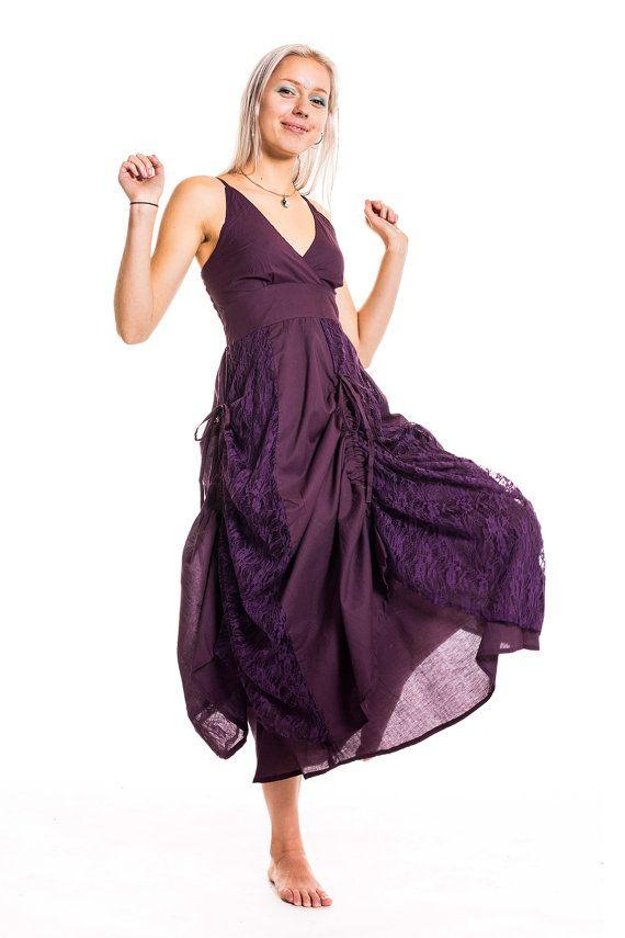 LONG PURPLE DRESS, long pixie dress, psy goddess dress, long hippie ...