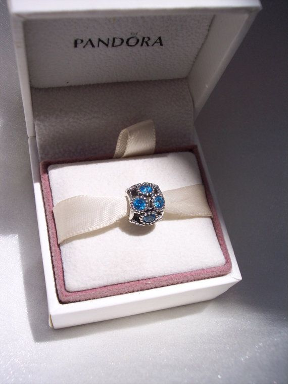 Pandora Charm Studded Lights Teal CZ Authentic by JEWELSELAGANT, $40.00