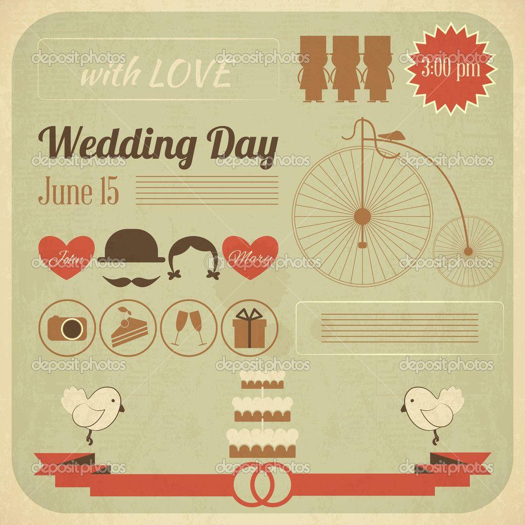 Wedding Day Invitation Infographics Card Stock Vector wedding