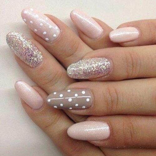 Blush And Glitter Nail Art Design Nail Nails Inspiration