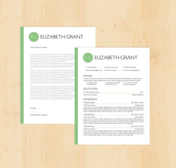 resume template cover letter template the elizabeth grant resume design instant download
