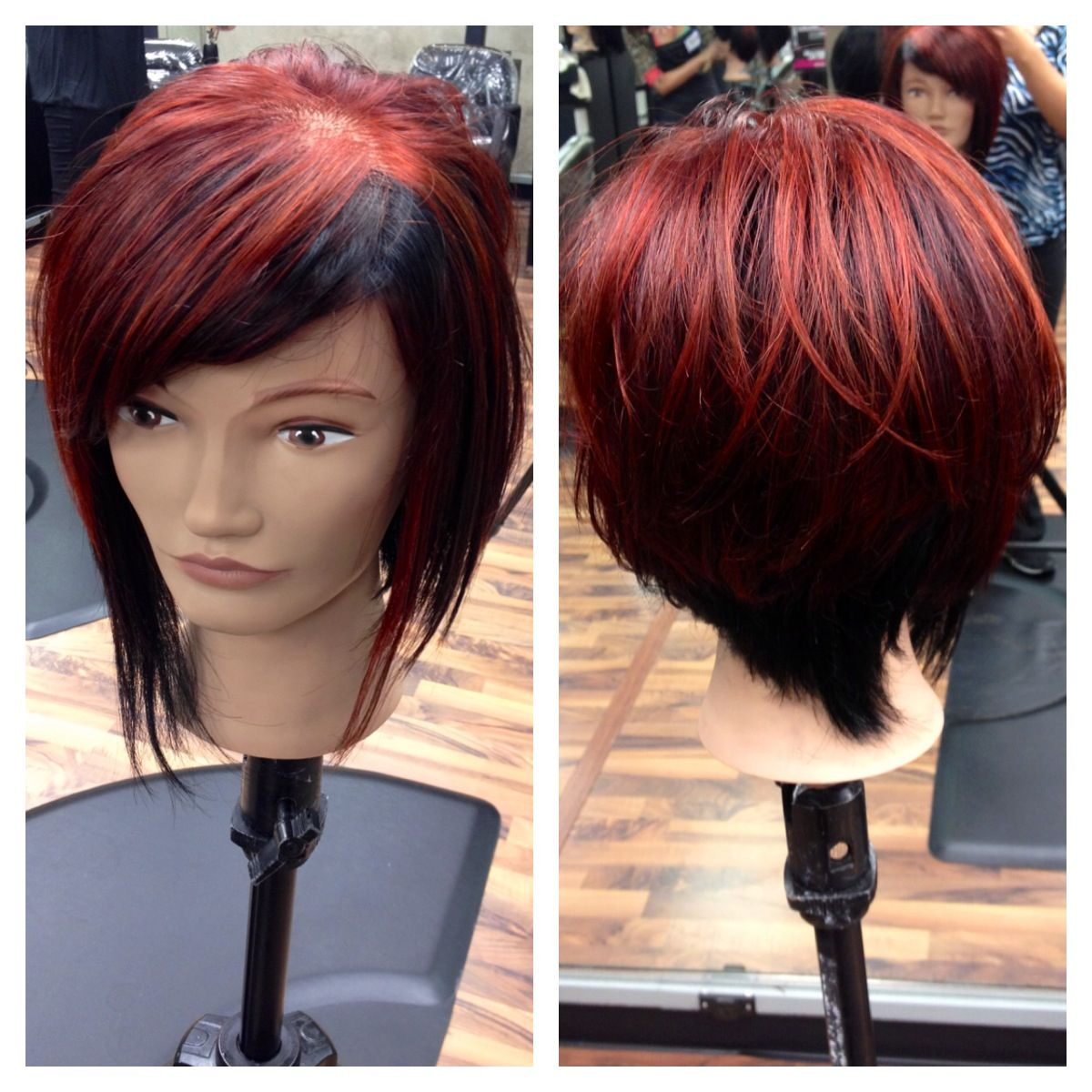 Color Blocking Red And Black Hair Hair By Kelly Heller