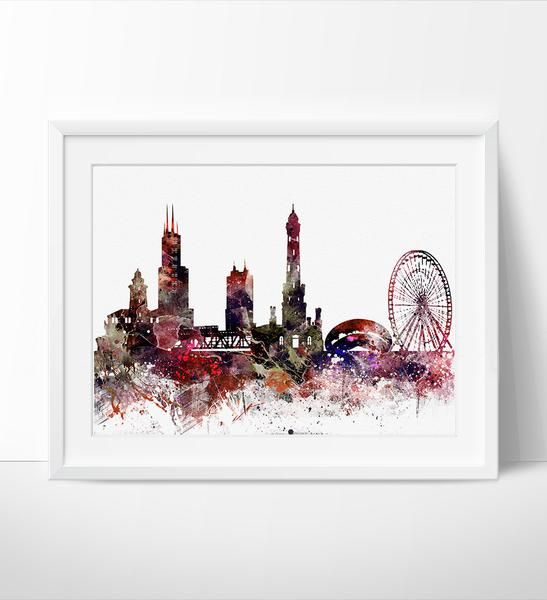 Chicago Abstract Chicago Skyline Chicago Art Poster Chicago print Chicago Cityscape & Chicago Abstract Chicago Skyline Chicago Art Poster Chicago print ...