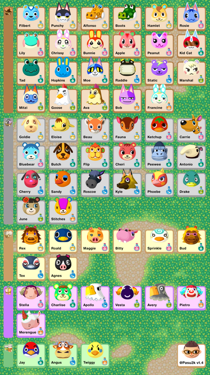 Animal Crossing Pocket Camp Phone Sized Reference Sheet Updated With The Jan 30th Hip Villager Animal Crossing Pocket Camp Animal Crossing Animal Crossing Pc