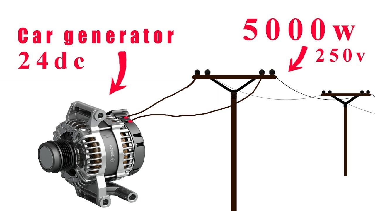 How To Turn A 24v Car Generator To 250v Youtube In 2020