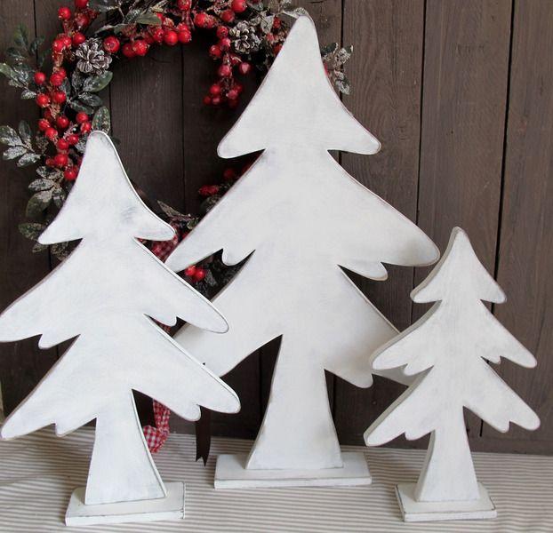 weißer Holz-Tannenbaum * shabby * Weihnachtsbaum von KRANZundCo. auf ...