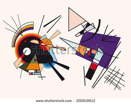 Vector abstract background. Fake framework of Kandinsky #5 - stock vector