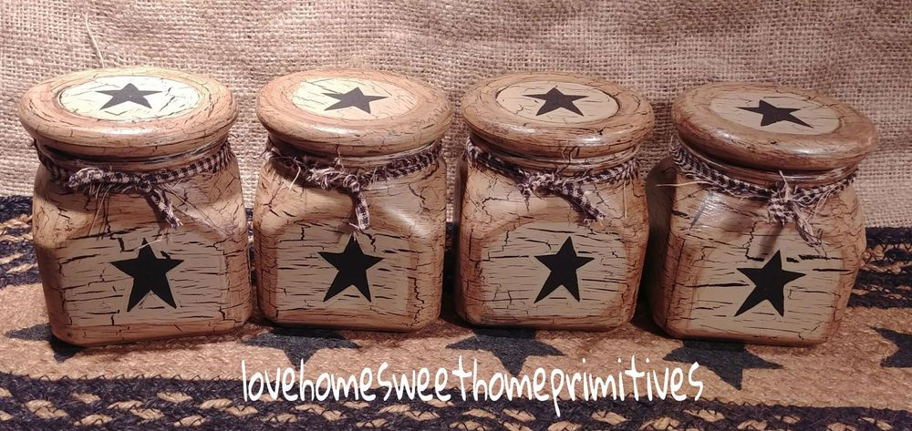 Primitive Crackle Painted Tan /& Black Star Glass Canisters Set of 4