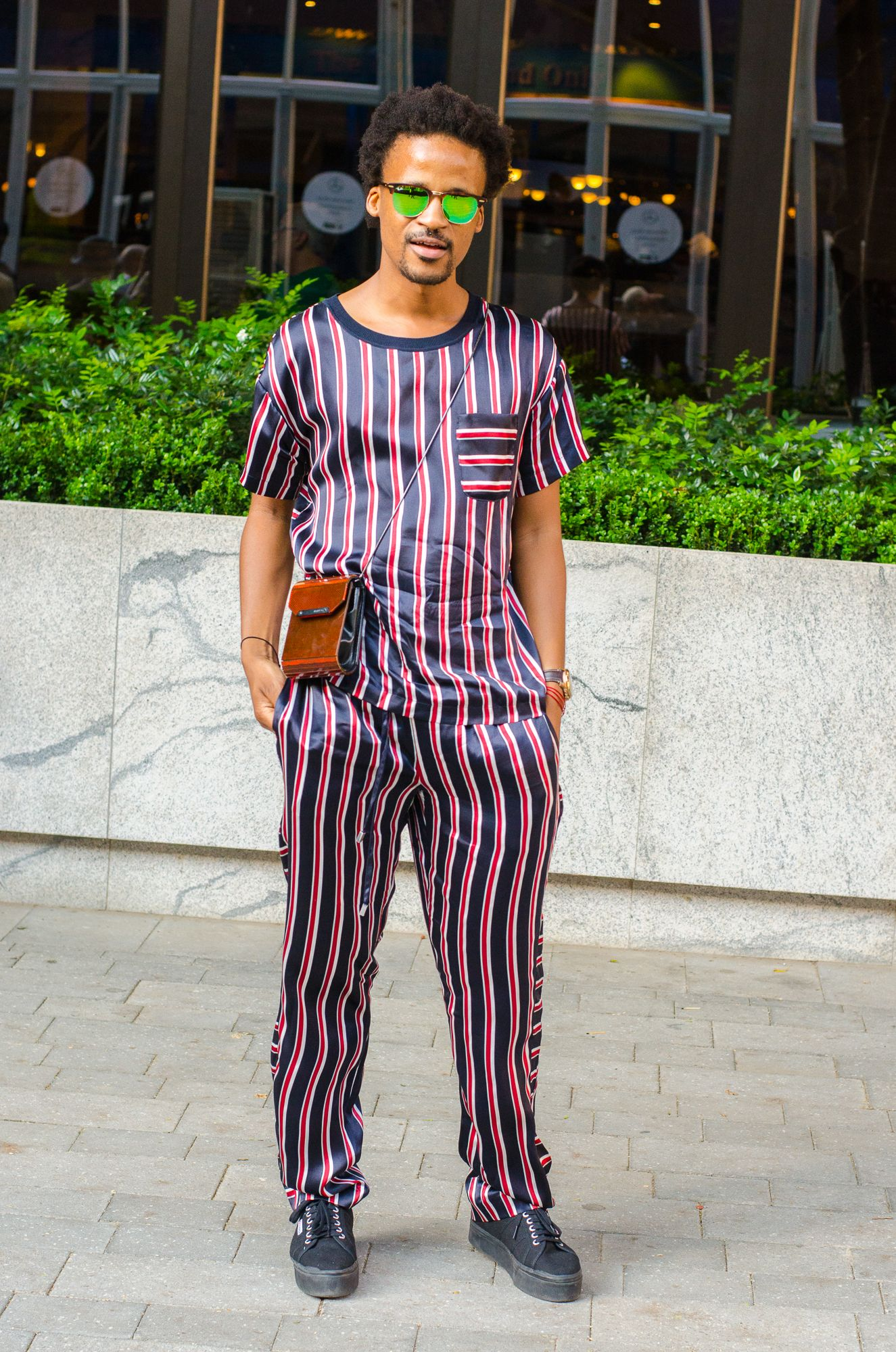 e30a7a3c7386 Get The Look   Jerri Mokgofe Earns His Stripes in a Pajama-esque Twin Set