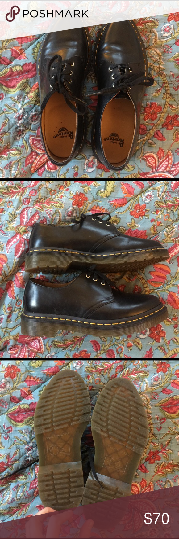 Pointed Toe Doc Marten Oxfords Worn once to a show, but in almost perfect condition - pointed toe instead of the classic round - have these in grey and they get a lot more love than these black ones, but I'm trying really hard to downsize! I'm usually a size 7.5/8, but these are a women's 7 and fit perfect Dr. Martens Shoes Combat & Moto Boots