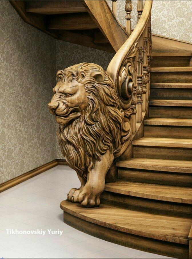 Beautiful lion staircase made of solid wood lions