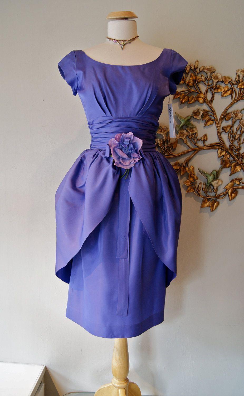 50s Dress // 50s Party Dress // Vintage 1950s Hydrangea Blue ...