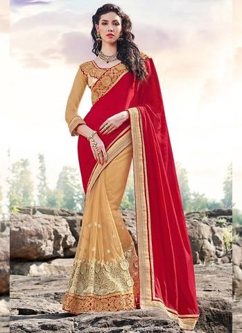 Red With Beige Netted Indian Wedding Sarees Fashion ,Indian Dresses