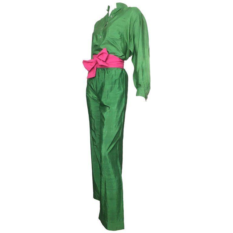 e5b821964285 Saint Laurent Rive Gauche Green Silk Blouse