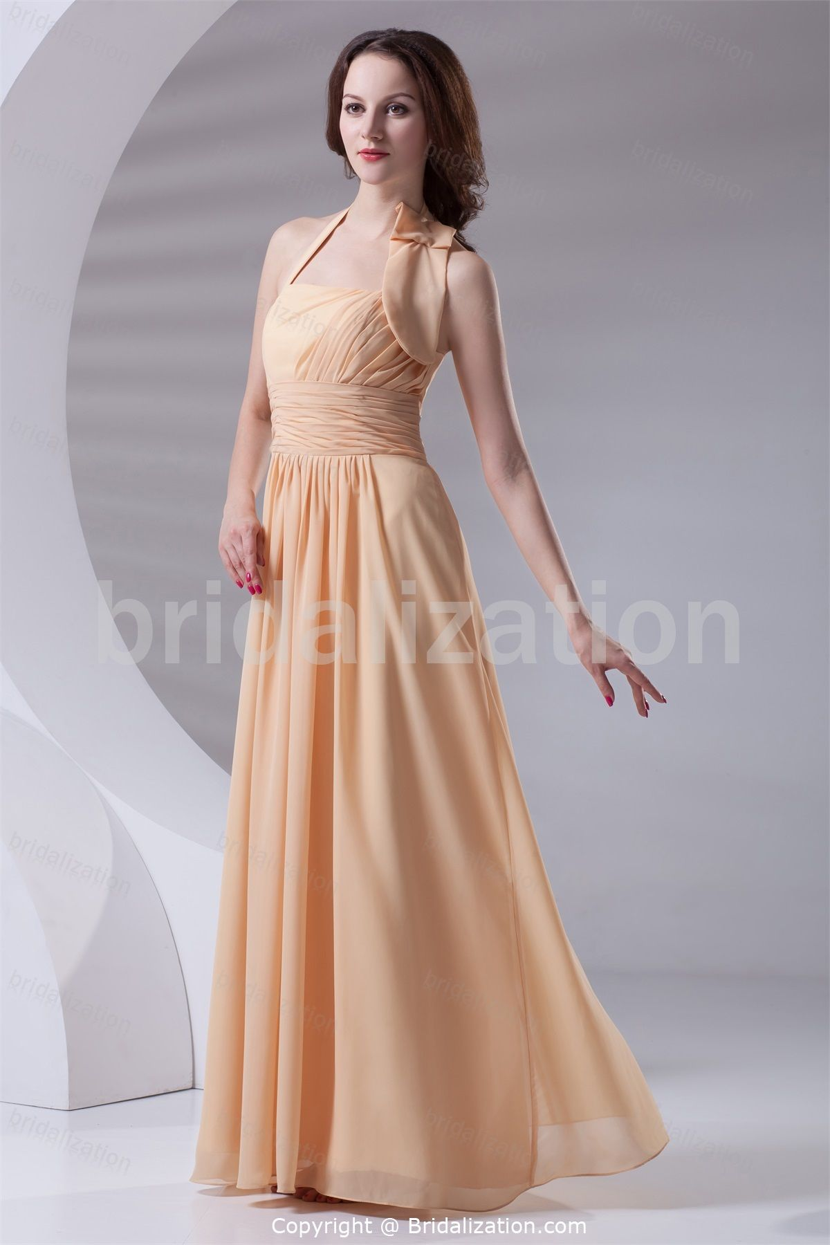 Champagne sleeveless spring hourglass floorlength bridesmaid dress