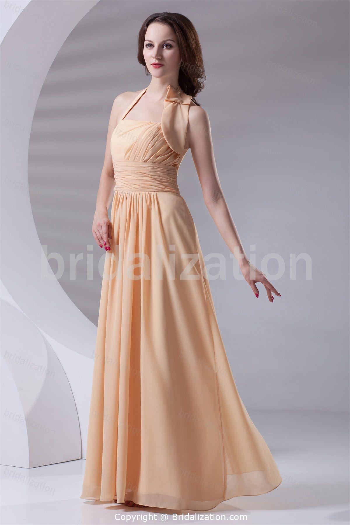 Champagne sleeveless spring hourglass floorlength bridesmaid dress