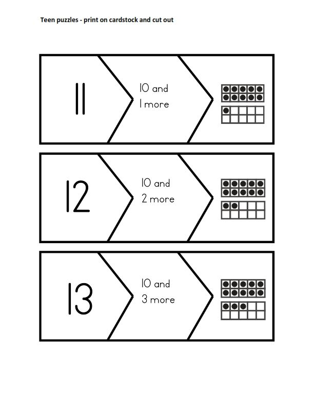K.NBT.1 11-19 Puzzles (free download) Compose and decompose numbers ...
