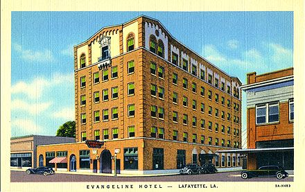 The Evangeline Hotel On Jefferson Street In Downtown Lafayette, Louisiana.  The Building Still Exists, Now An Apartment Complex For Senior Citizens.