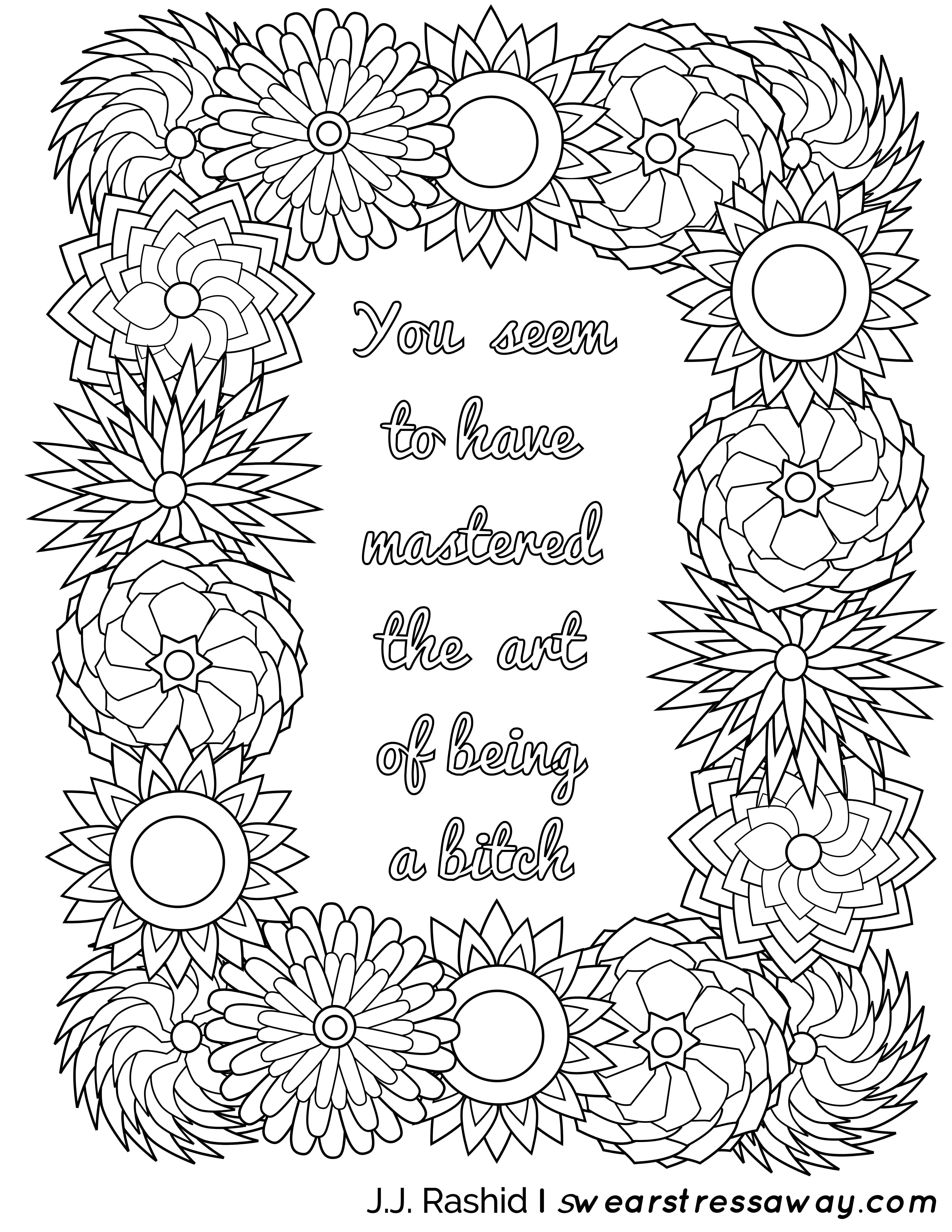 Art Of Being A Bitch Adult Coloring Page Screw You As