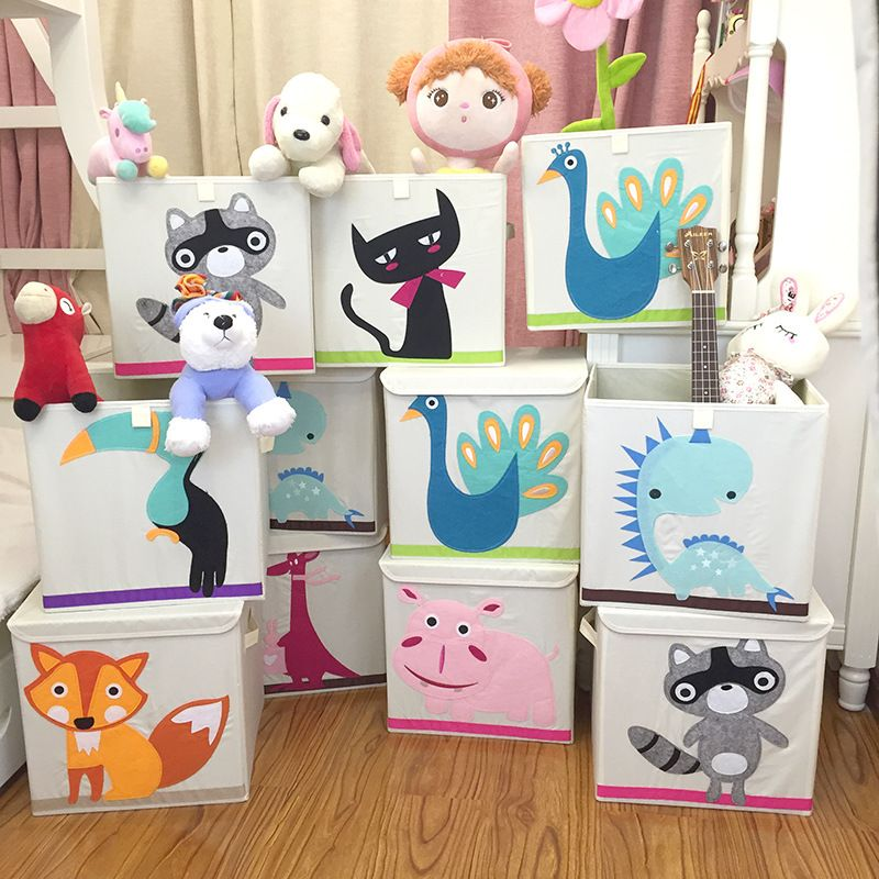 1pcs Large Children S Toys Storage Box Clothes Container Covered Folding Tool 33x33x33cm