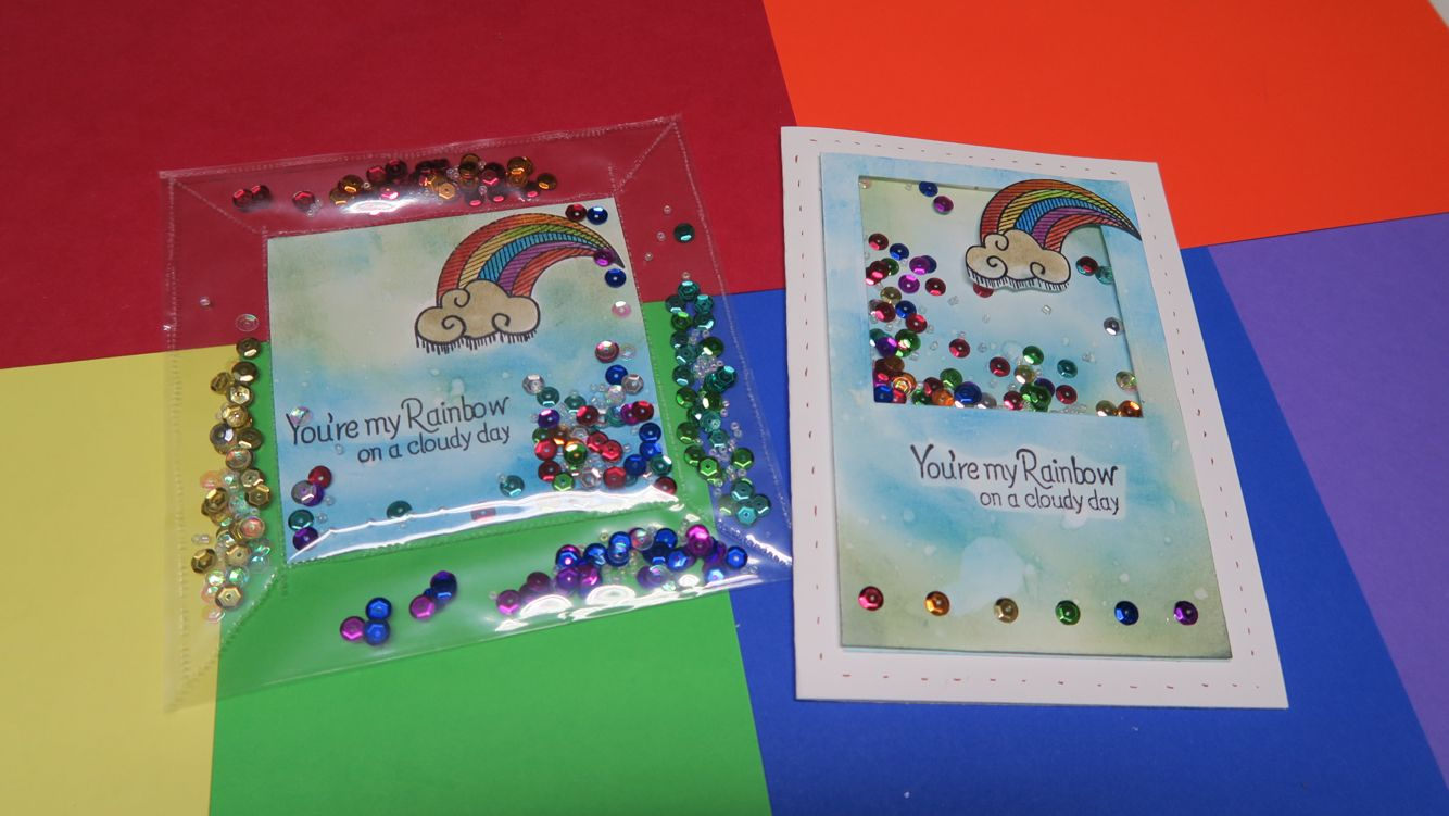 rainbow shaker card  one using the project life fuse and