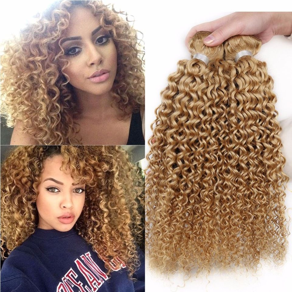 Aliexpress Blonde Kinky Curly Hair Weave Brazilian Virgin Hair