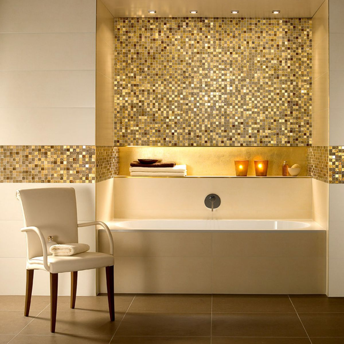 10 best golden aesthetics for your bathroom design for Gold mosaic bathroom accessories
