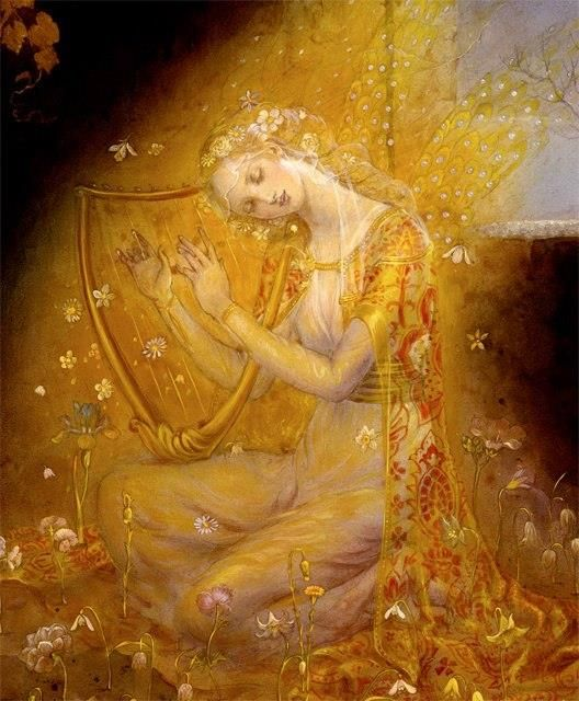 An Angel with her Lyre  by Kinuko Y. Craft -