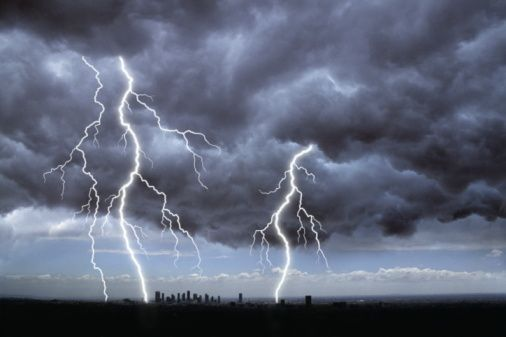 STORM WITH DARK CLOUDS AND LIGHTNING OVER CITY | SO BRIGHT ...