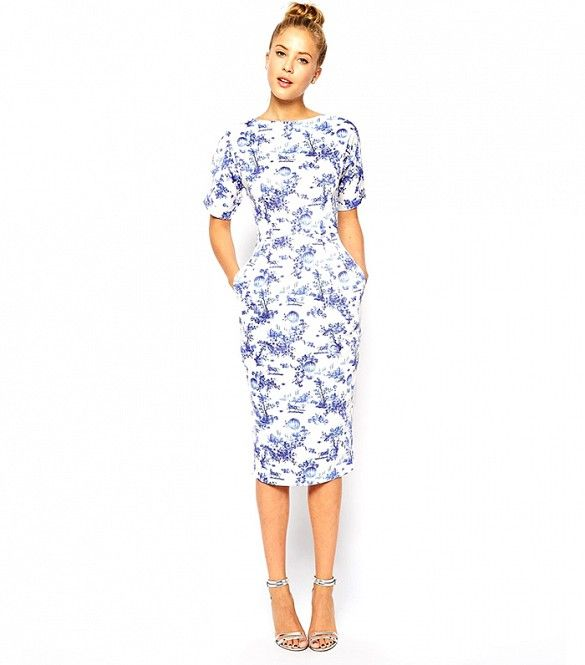 74e227bfe16 A pretty blue and white print    ASOS Wiggle Dress