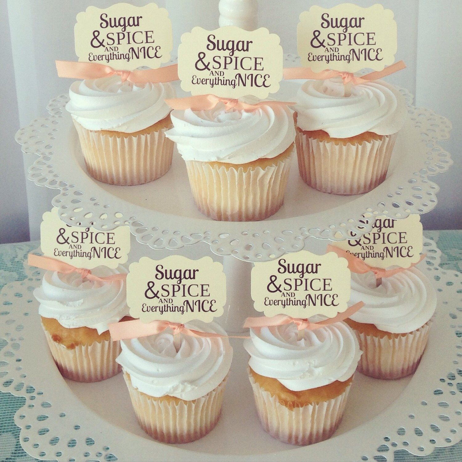 Cake Toppers Baby Shower Etsy : Baby Shower cupcake toppers, Sugar and Spice and ...
