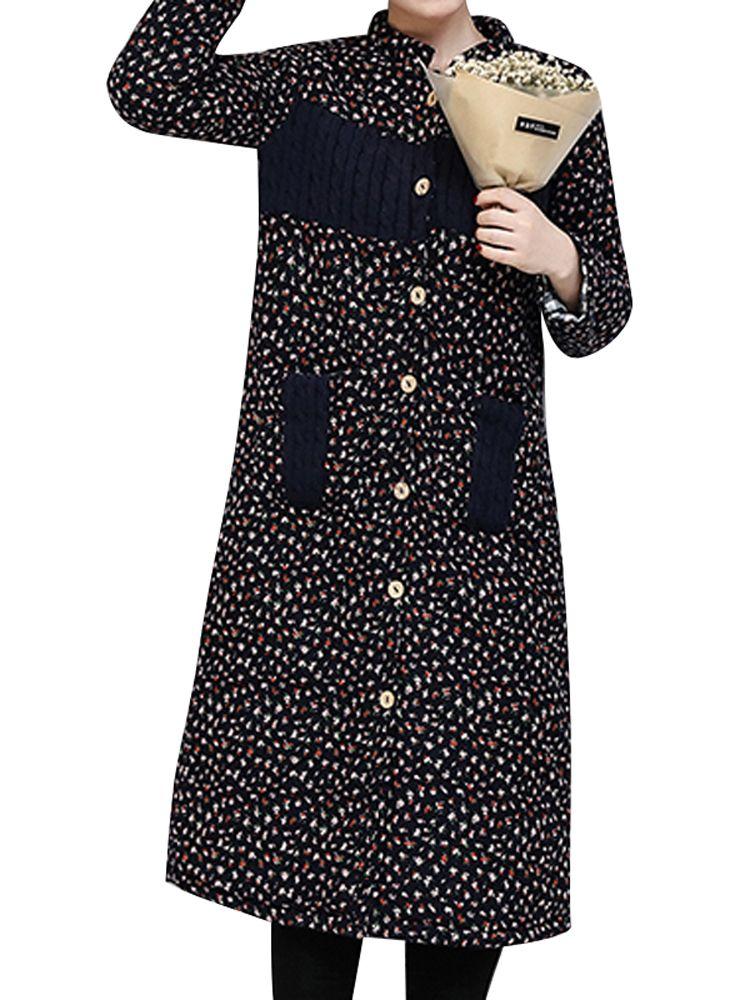 Sale 10% (46.29$) - Vintage Floral Printing Patchwork Long Sleeve Thick Loose Long Coat