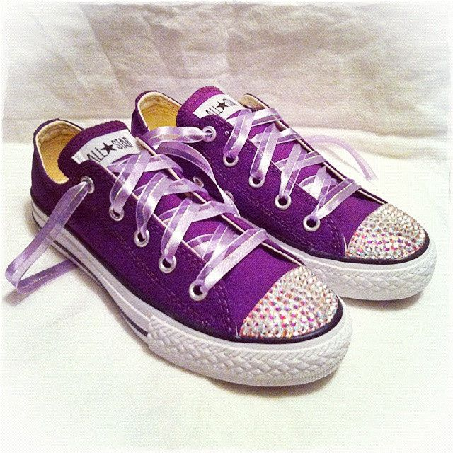 Purple low top bling chuck Taylor converse AB bling. $75.00, via Etsy.