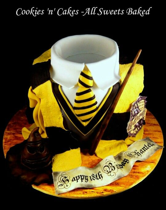 Harry Potter Cake Hufflepuff Shorting Hat Magic 18th Birthday Facebook CookiesnCakesAllSweetsBaked
