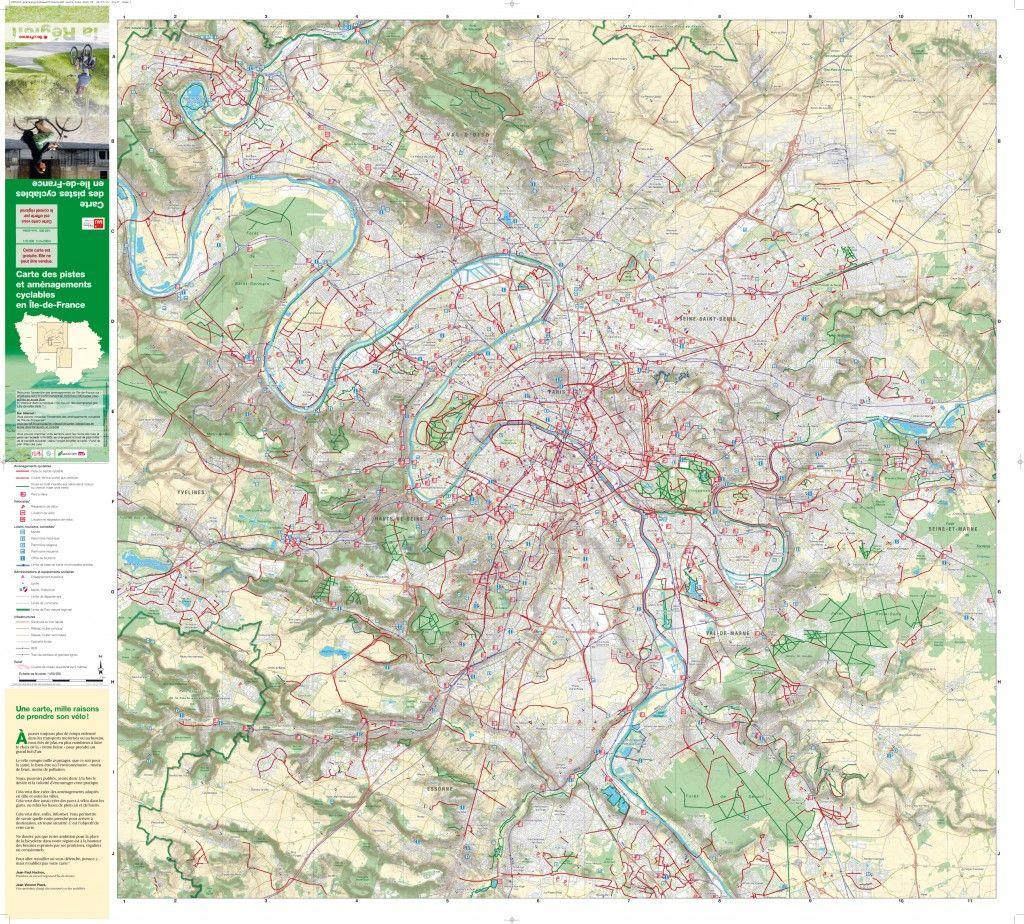 Région île de France : Carte des pistes cyclables - Pistes Cyclables   Cyklo/Cycling   Pinterest ...