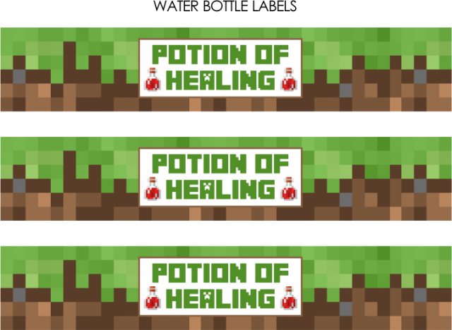 Free Minecraft Party Printables Includes Water Bottle Labels For Healing