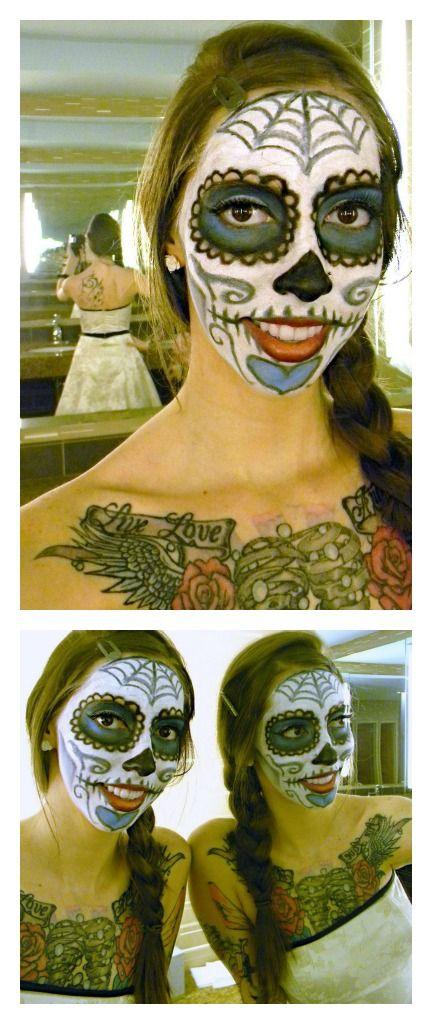 Day of the Dead face paint + old dance/prom dress \u003d easy Halloween - halloween dance ideas