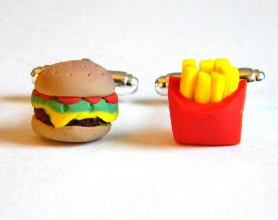Burger and Fries Cufflinks  Polymer Clay Food  by SammysBeadworks, $16.00