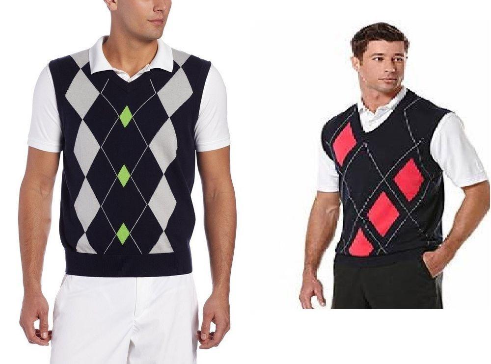 PGA TOUR Sweater Vest Argyle or striped v-neck 100%Cotton men's ...