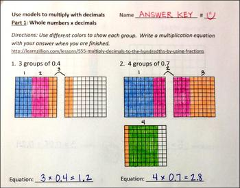 how to show multiplying decimals
