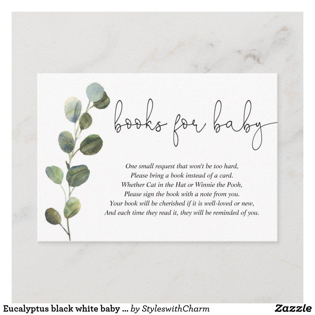 Eucalyptus black white baby shower book request enclosure