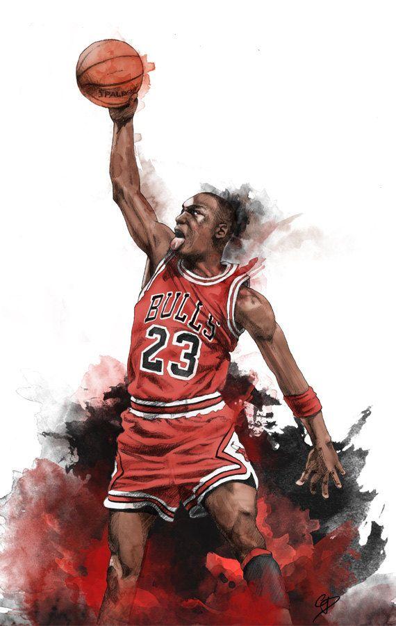3b5b3a31ca6 Michael Jordan Illustrated wall poster art by IllustrationsbyChris ...