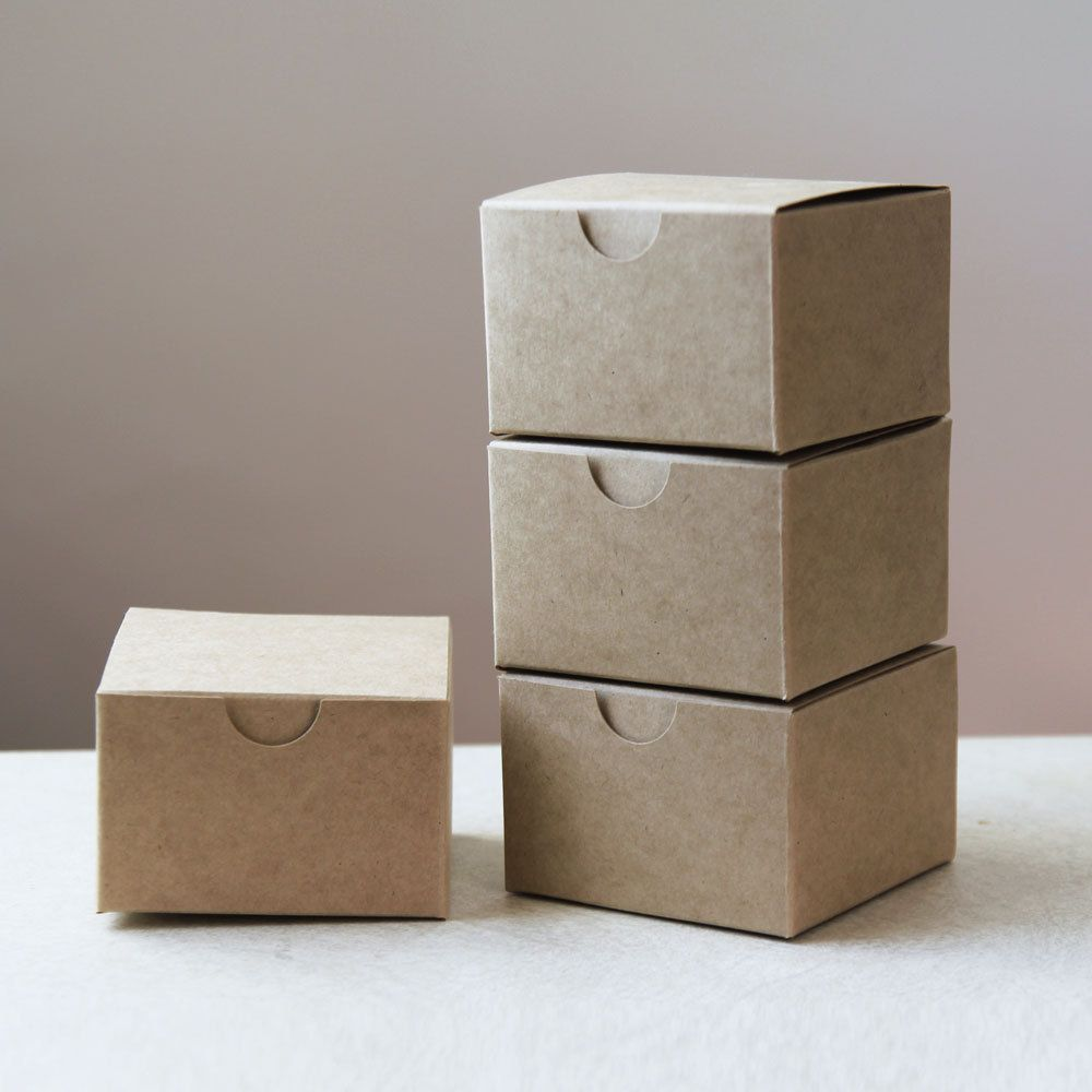 Set Of 25 Kraft Natural Gift Box 3x3x2 3 In X 3 In X 2 In