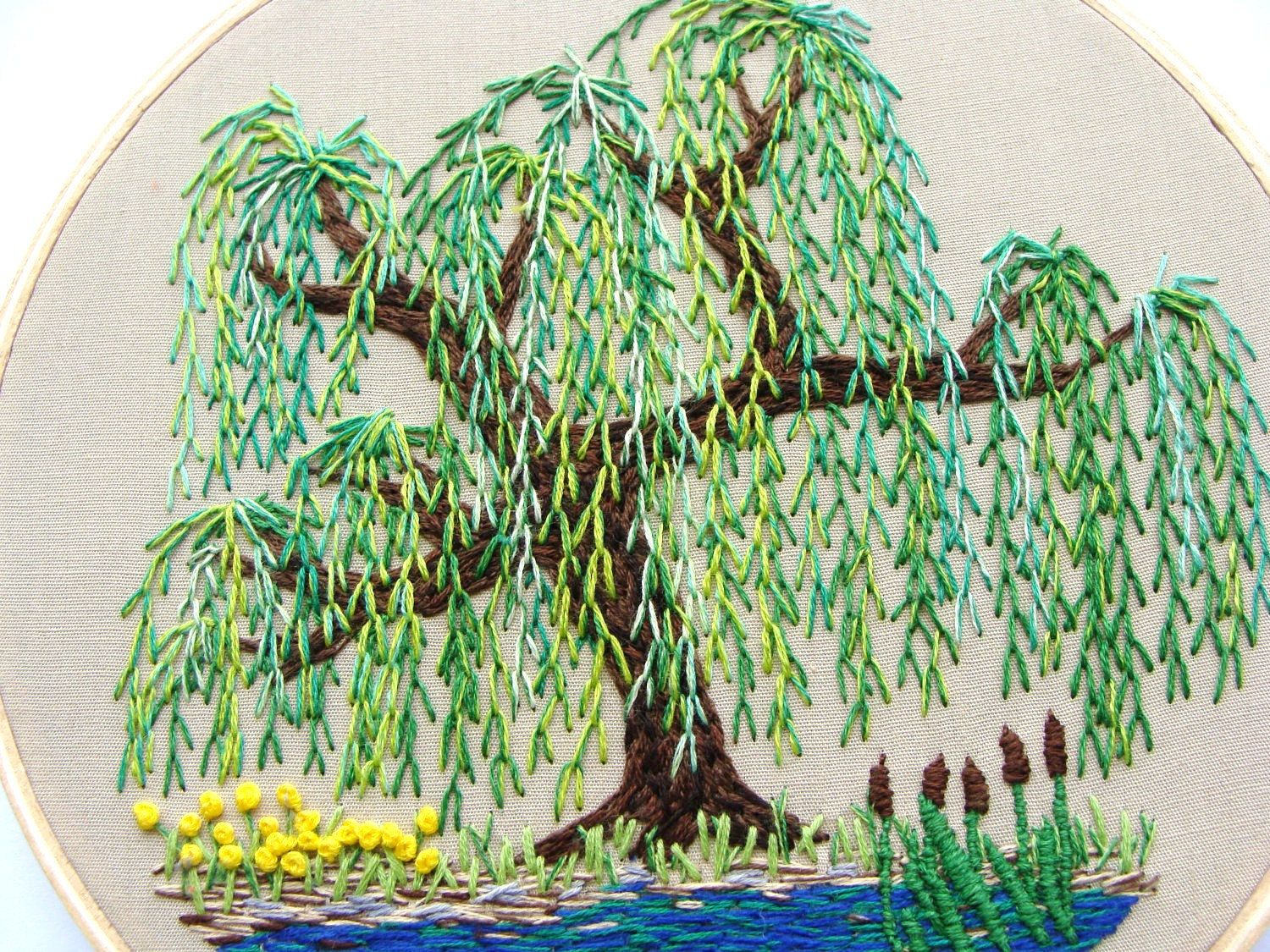 Weeping Willow Embroidery Hand Embroidery Embroidery Hand