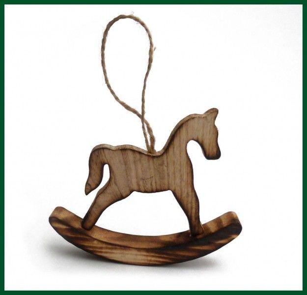 Schaukelpferd Holz Deko Vintage Landhaus Shabby Advent: Schaukelpferd Holz Geflammt Baumschmuck Pferd Wohnen