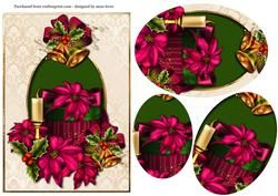 Pink Poinsettias & Christmas Gift Box Oval Pyramid