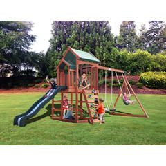 Timber Play Ii With Balcony Swing Set Kmart Backyard Playground Sets Backyard Swing Sets Backyard Playground